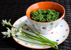 Wild Garlic Pesto made in the Taste of Savoie Kitchen