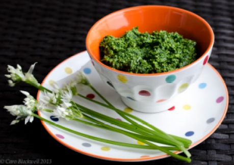 Wild Garlic Pesto made in the Taste of Savoie Kitchen