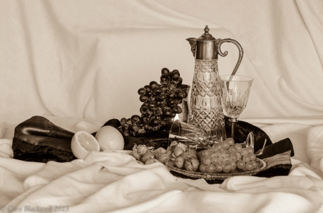 still life with grapes - sepia