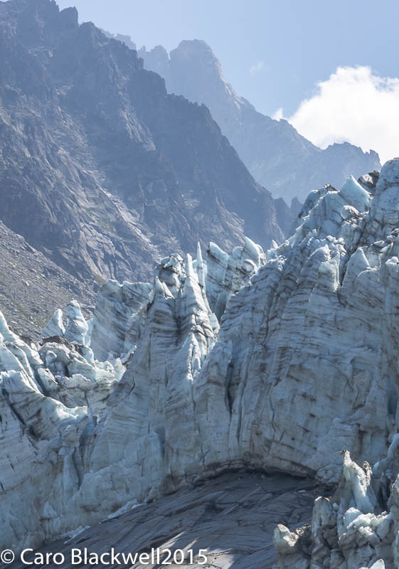 A close up of Le Serac on the Argentiere Glacier